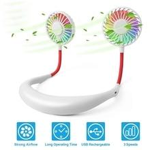USB 2000MAh Portable Hanging Neck Sports Fan with Colorful Led Light Headphone Design Mini Cooler Wearable Neck Fan