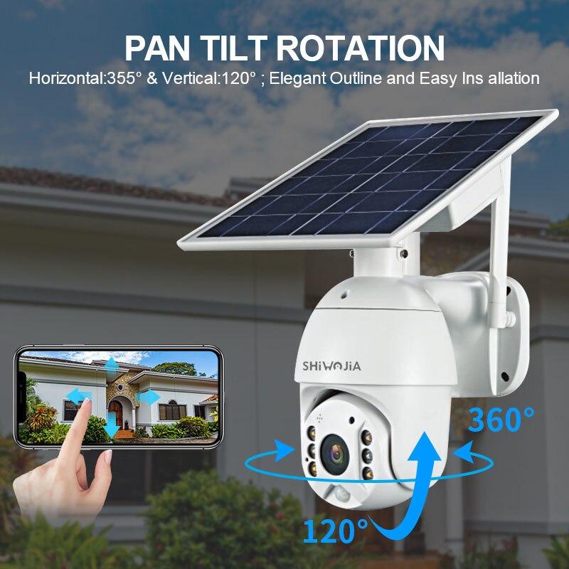 SHIWOJIA 4G SIM Card Solar Battery PTZ Camera 1080P CCTV Outdoor Surveillance Smart Home Alarm Standby for Farm Ranch Forest A