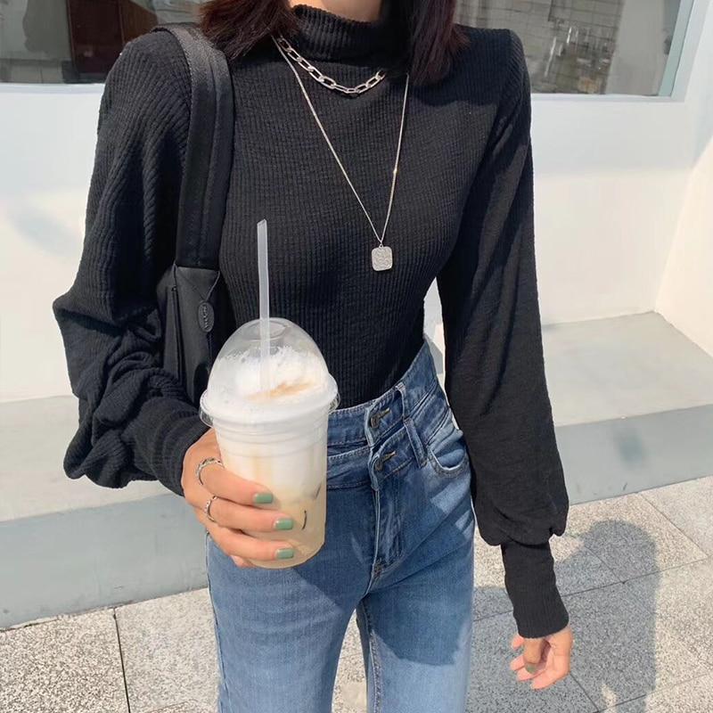 Thick T-shirt Women's Autumn and Winter Ins Blouse New Western Style plus Size High Neck Inner Wear