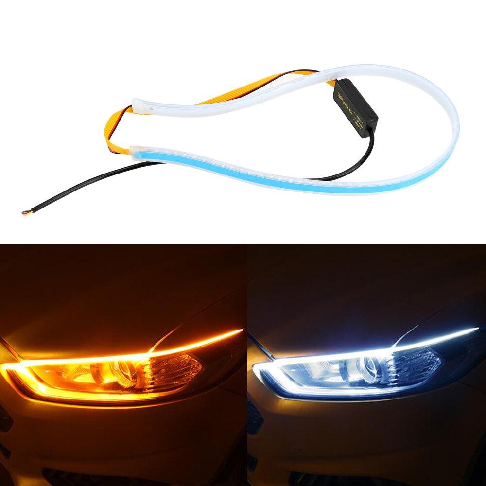 45 60cm blanco amarillo intermitente lámparas Flexible tubo suave guía impermeable ultrafino LED para automóvil DRL tira de luz diurna