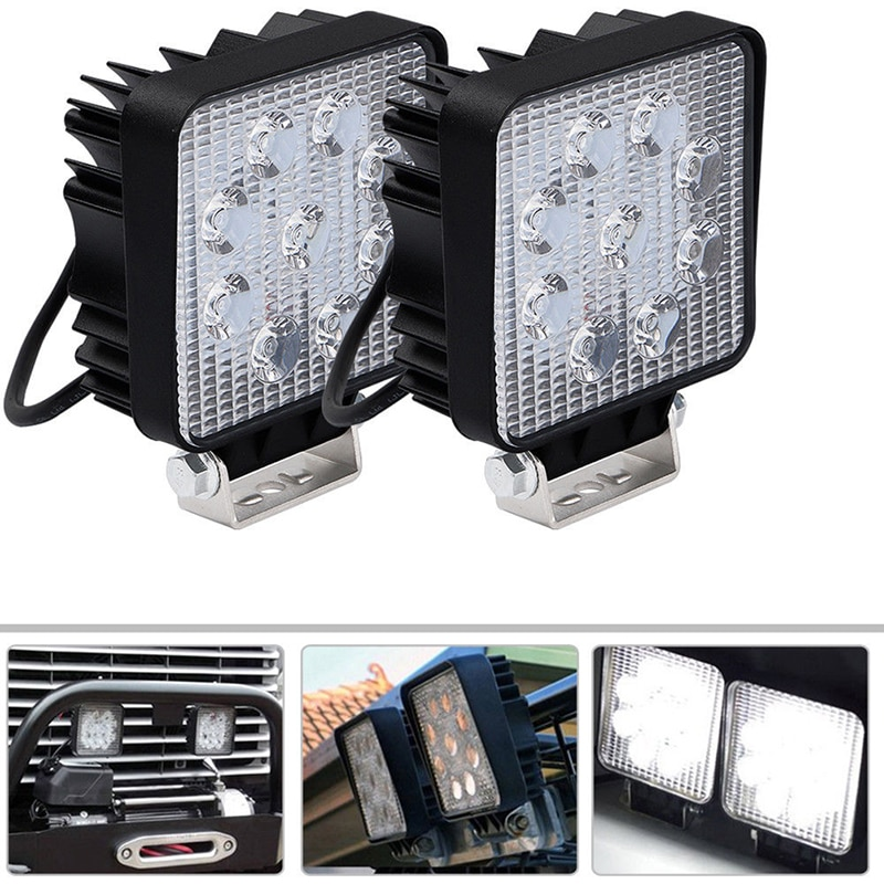 27W Square Spot Beam Led Work Light Driving Fog Lights Front Bumper With Mounting Bracket Kit 1Pcs 4Inch