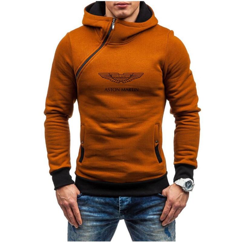 2021 Spring Autumn Aston Martin Car Logo Men's Sportswear Hoodie Personality Diagonal Zipper High Street Pullover Jacket S 3XL