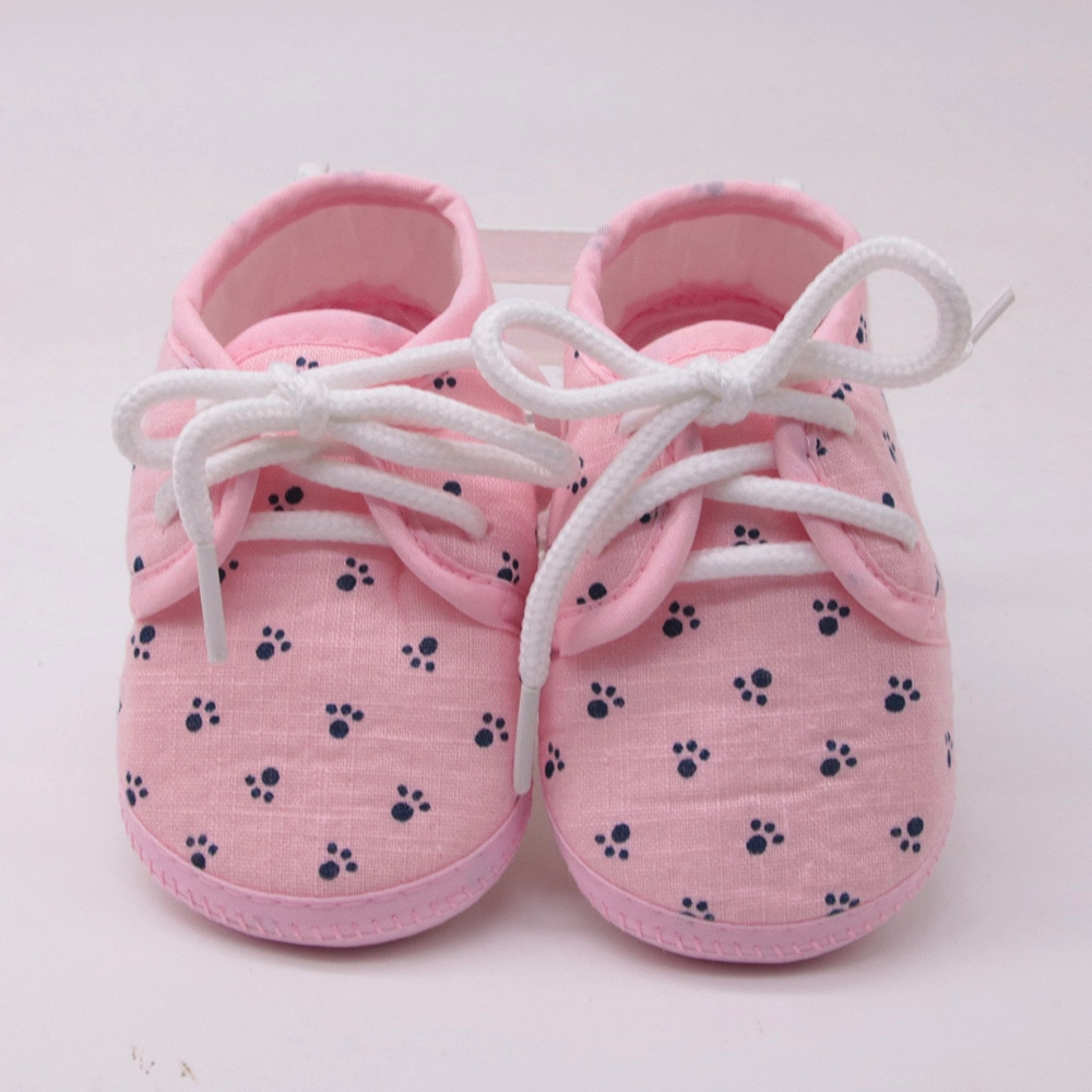 Lovely Newborn Baby Girls Lace-up Shoes Letter Footprint Plaid Printing Anti-slip Footwear Crib Shoe