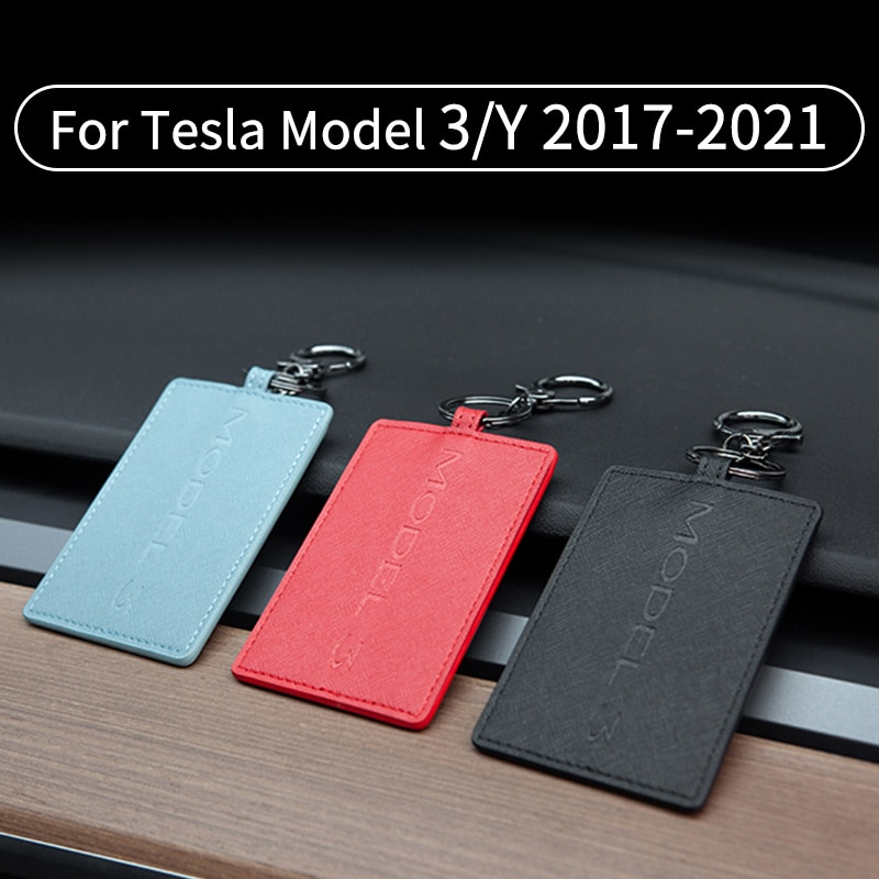 PU Leather Car Key Case For Tesla Model 3 2017-2021 Model Y Card Cover Wallet Protector Holder with