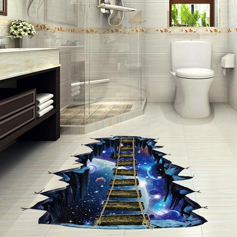Adhesivo 3D para pared Galaxy Star Bridge, papel tapiz decorativo para el hogar, calcomanías extraíbles para el suelo de la sala de estar, calcomanía para pared, decoración del hogar, 30