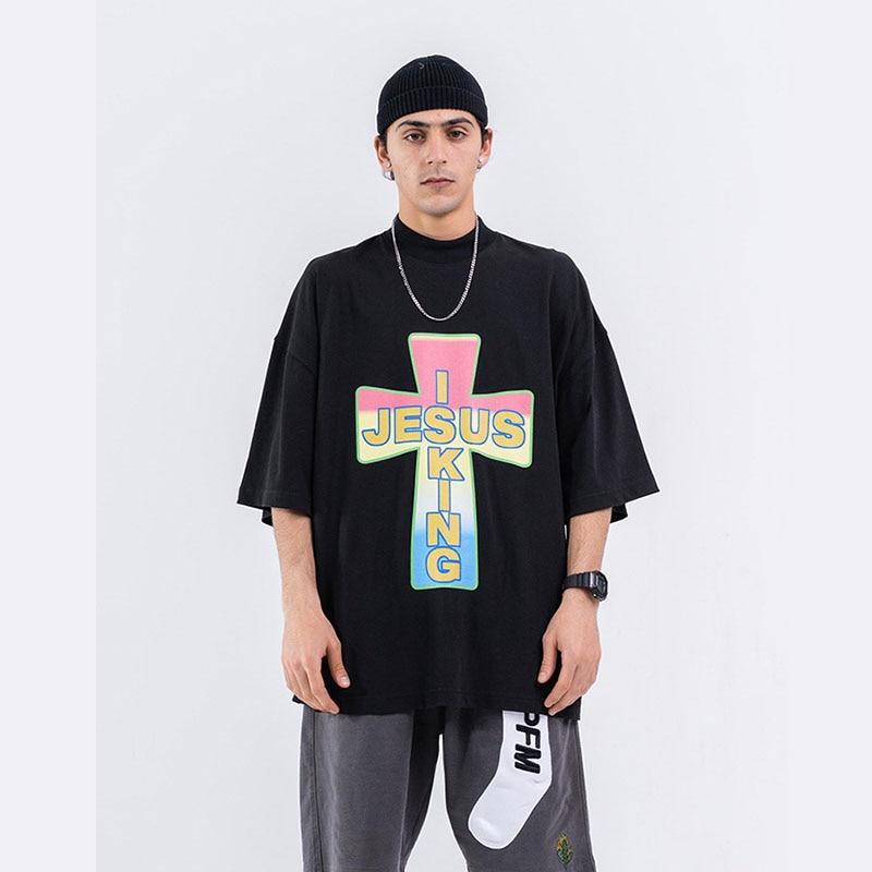Camiseta de manga corta holgada Hip Hop de color cruzado para hombre, camiseta de gran tamaño de calle para hombre, camisetas para parejas