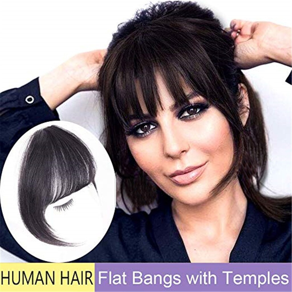Hair Piece barber shop Natural Black Wig High temperature wire Clip In Blunt Bangs Thin Fake Fringes Extension Female Air Bangs