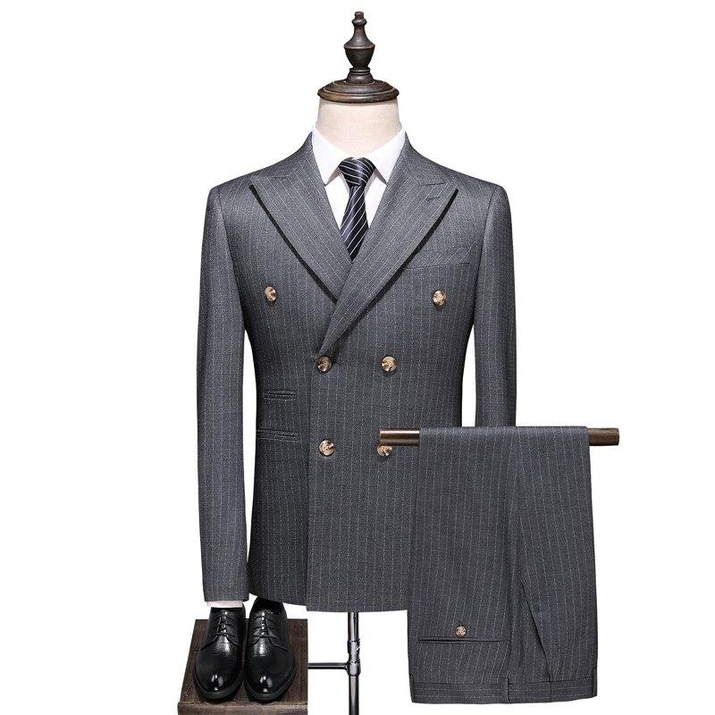 (Jacket+Vest+Pants) Fashion Men Suit Slim Prom Wedding Suits Men Groom Tuxedo Jacket Pants Set Sky Blue Casual Man Blazer S-5XL