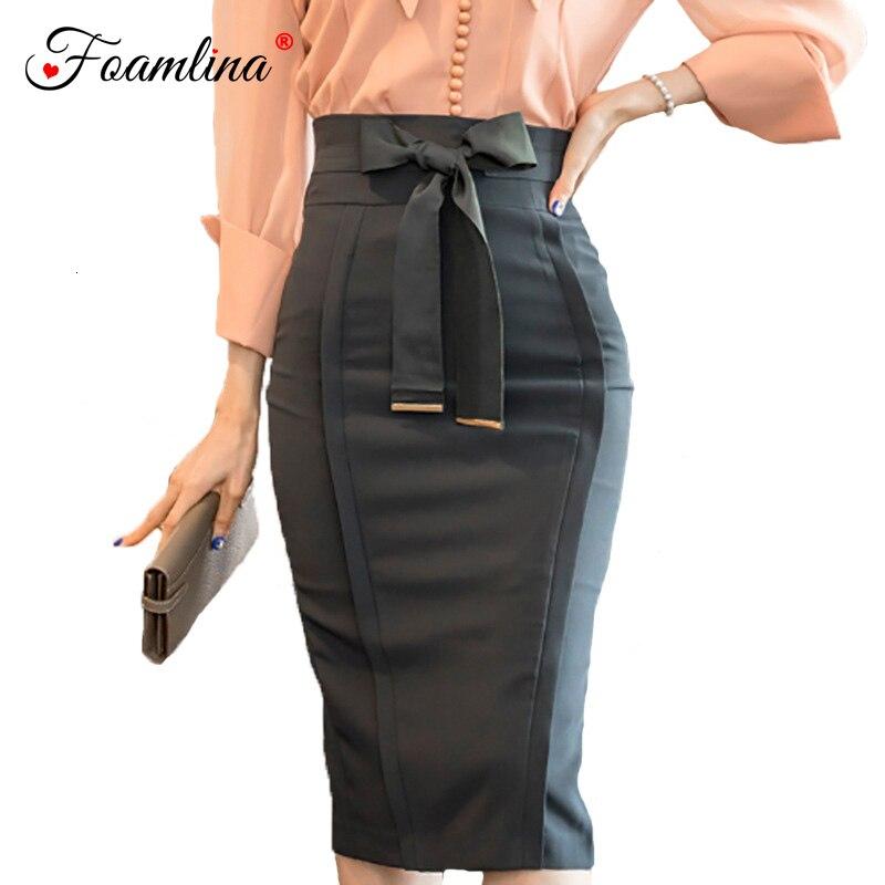 Foamlina Elegant Women's Pencil Skirt 2018 New Fashion Korean OL Style Bowknot High Waist Knee Length Work Office Bodycon Skirt
