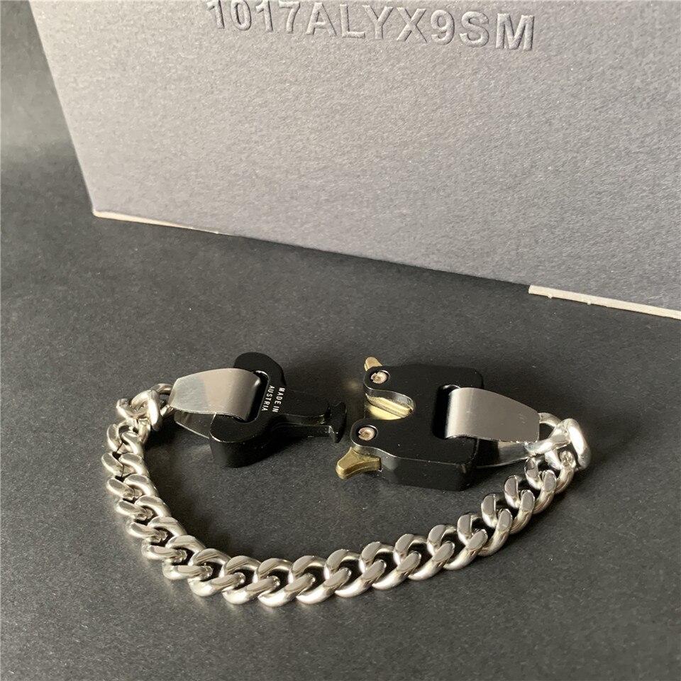 Xx alyx river link braceletes 2020 masculino mulher titânio aço inoxidável 1017 alyx 9sm pulseira fivela de metal feita na áustria