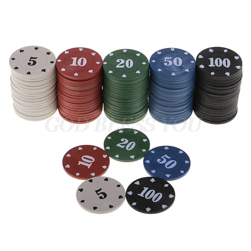 100Pcs Round Plastic Chips Casino Poker Card Game Baccarat Counting Accessories Dice Entertainment Chip 5/10/20/50/100