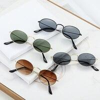 Солнцезащитные очки в овальной оправе UV400 женские, винтажные роскошные аксессуары с небольшими линзами чёрного, красного, жёлтого цвета, в р...
