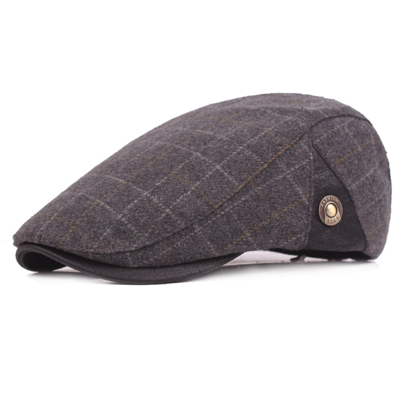 Gorro de pico de pato de lana para hombre boina de lana para hombres de mediana edad y ancianos gorro caliente para hombre