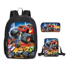 Set de 3 unidades de mochila con estampado de dibujos animados Blaze y The Monster Machines para niños, mochilas escolares a la moda para niños, bolsa de viaje para libros