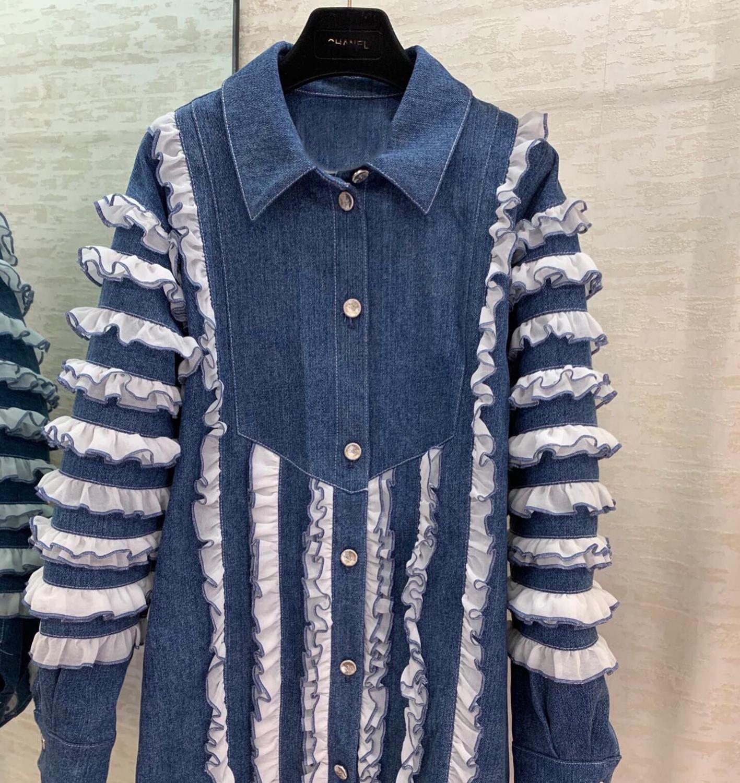 Blue Denim Jackets Women High-end Fashion Sweet Chic Ruffles Patchwork Turn-down Collar Buttons Cotton Coats Street Jackets 2020