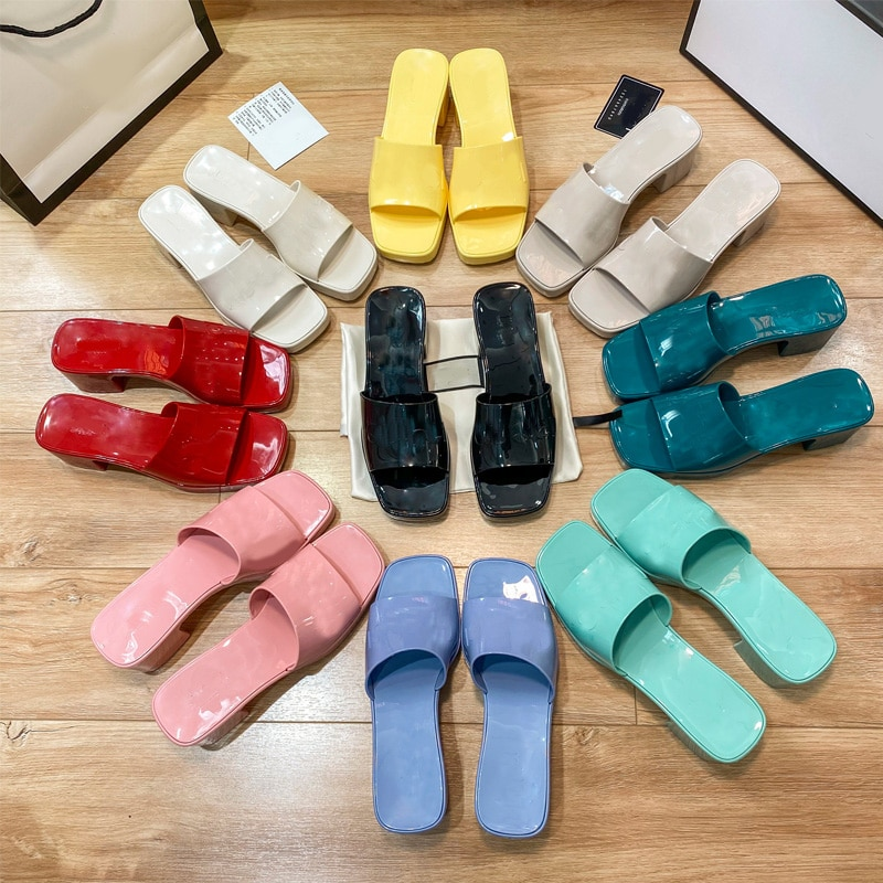 2021 Desinger Candy Color Jelly PVC Platform Women Shoes Summer Square Toe Heels Mules Outdoor Beach