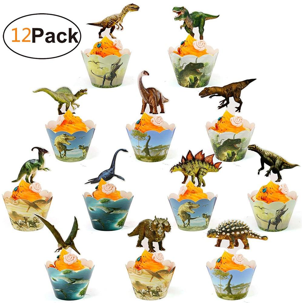 Dinosaur Cake Decor Dino Jungle Safari Birthday Cupcake Topper Dino Jurassic World Roar Happy Birthday Party Decor Kids Boy 1st