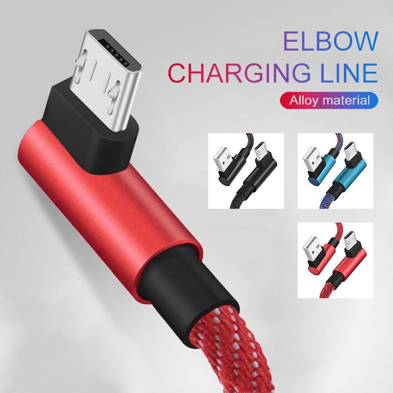 2m usb 90 grados carga rápida USB micro Android datos cable micro datos cable cargador usb para Samsung xiaomi huawei