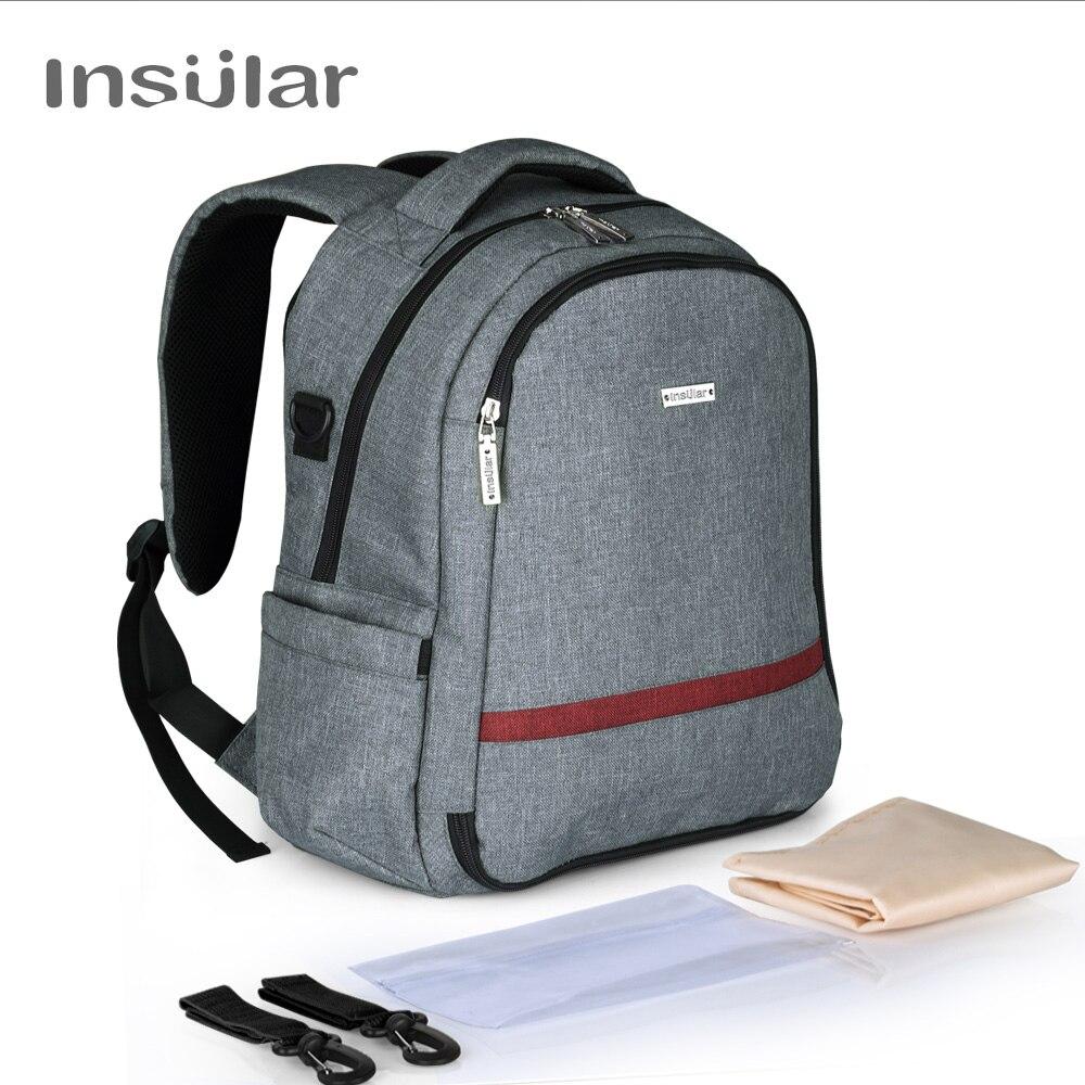 Bolsa de pañales INSULAR, mochila, bolsa de bebé para mamá, bolsa de viaje multifuncional de gran capacidad, bolsas de pañales impermeables, mochila