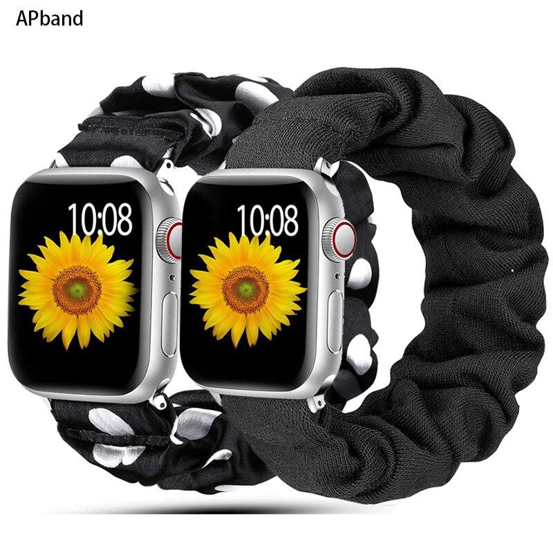 Scrunchie Strap For Apple watch band 40mm 44mm 42mm 38mm 42 mm Elastic Nylon bracelet Solo Loop band
