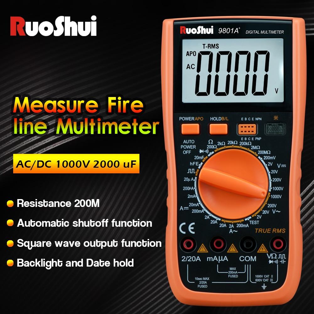 RuoShui-multímetro de alta precisión, valores eficaces verdaderos, medidor de temperatura y capacimetro,...