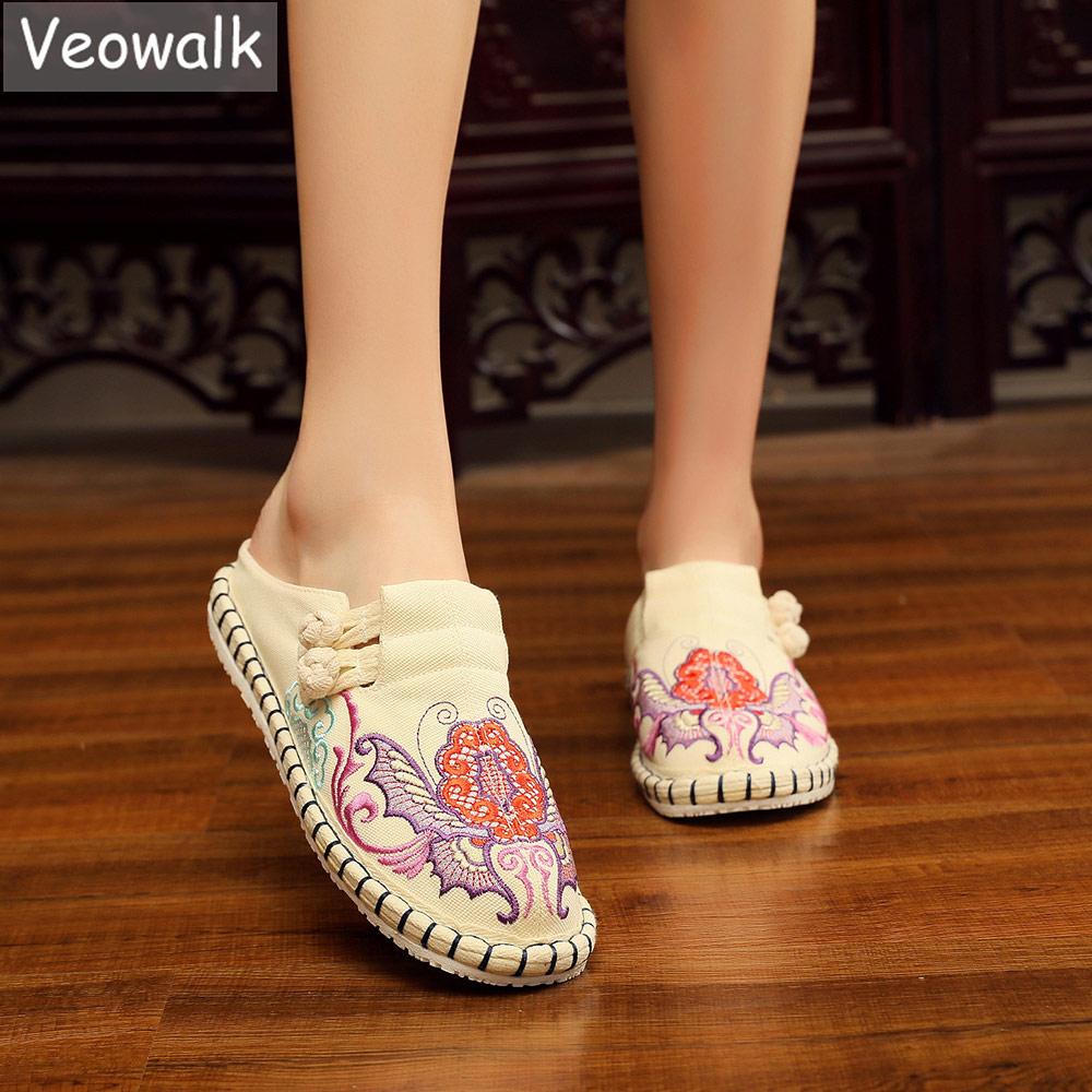 Veowalk-حذاء إسبادريل قماش مطرز بالزهور للنساء ، حذاء مسطح بوهيمي ريترو مريح بمقدمة مفتوحة ، للصيف