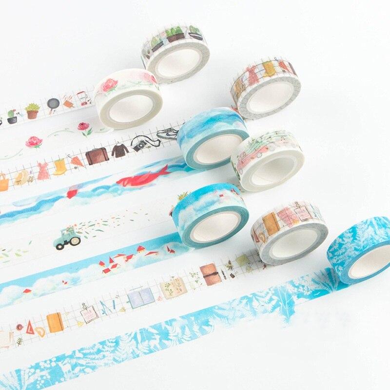Washi Tape de viaje a todo el mundo tiempo de la semana tiempo Memo equipaje coche cinta adhesiva diario decoración de pegatinas bricolaje D6347