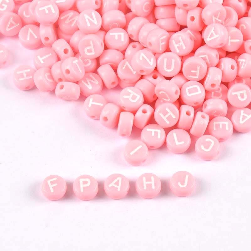 200/400Pcs Gemengde Roze Acryl Alfabet/Brief Ronde Kralen Voor Sieraden Maken 7Mm YKL0805