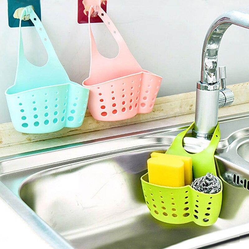 Cozinha de plástico pia esponja titular pendurar cesta com pendurado cinta snap para purificador prato escova acessórios da cozinha organizador