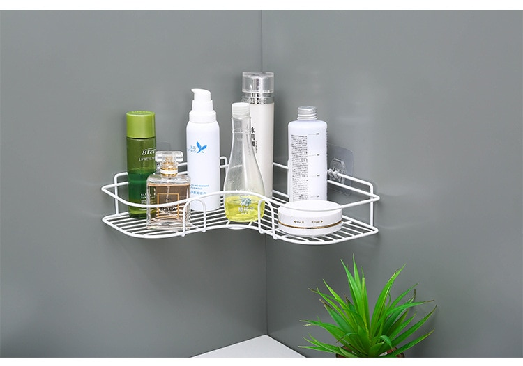 Cuarto de ducha sin punzonado, artículos alrededor de las esquinas, estante de inodoro, marco de hierro en esquina, estante de almacenamiento de trípode para productos de hierro