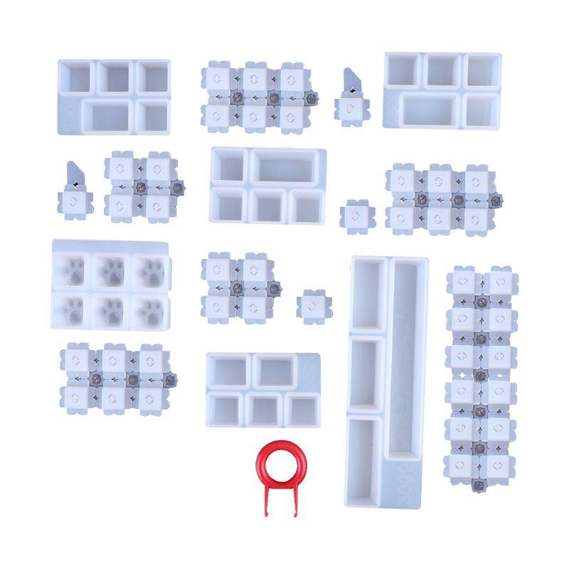 1 Set Manual DIY Mechanical Keyboard Key Cap Silicone Mold UV Crystal Epoxy Resin Molds Handmade Crafts Making Tools