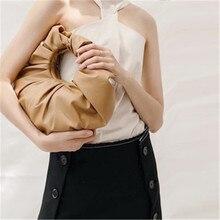 Nowe skórzane chmury torby z bawełny dla kobiet 2020 Solid Color torba na ramię kobiece torebki i portmonetki Travel Totes