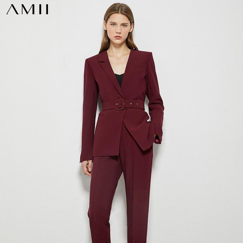 Amii Minimalism Autumn OLstyle Suit Female Fashion Solid Lapel Blazer Women High Waist Straight Ankel-length Pants  12080057