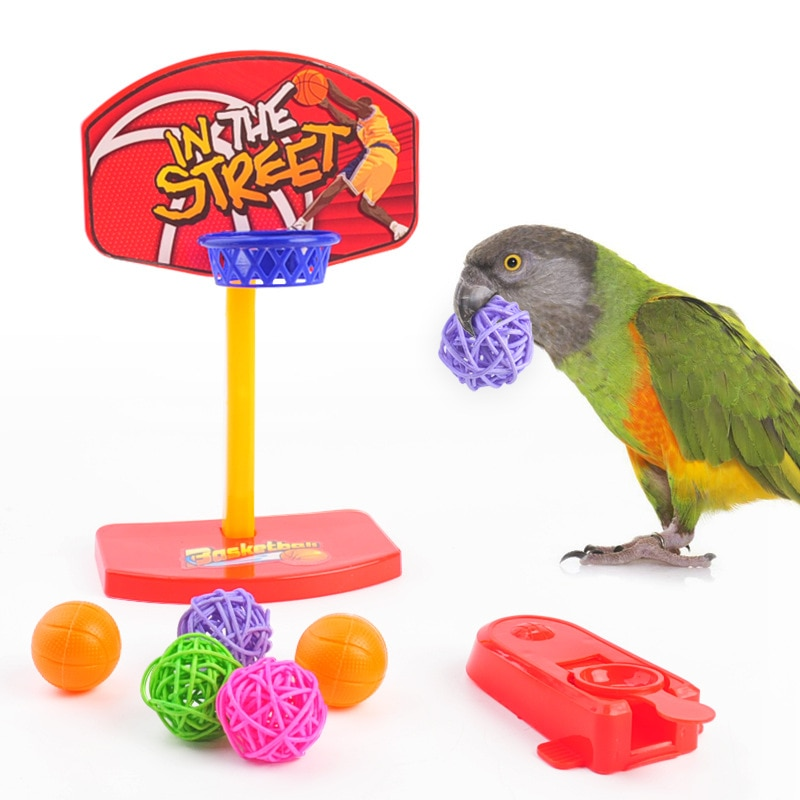 Mini Funny Parrot Birds Toys Puzzel Game Parrot Toys Basketball Shoot Toy for Parrot Interactive Birds Toy Small Pet Supplies