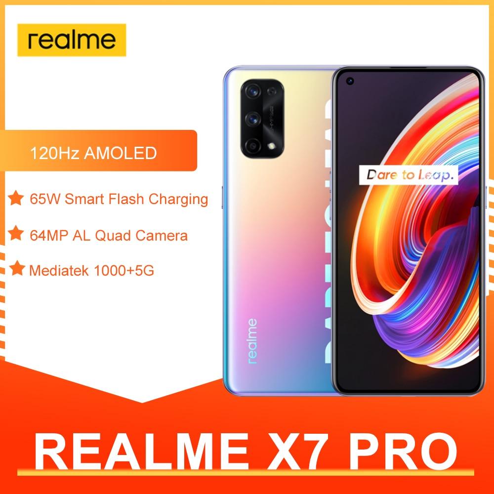 Перейти на Алиэкспресс и купить Оригинальный Realme X7 Pro 5G смартфон 8 ГБ 128 6,55 дюймов 120 Гц активно-матричные осид, Экран 64MP Quad камеры 4500 мА/ч, 65 Вт быстро Зарядное устройство NFC