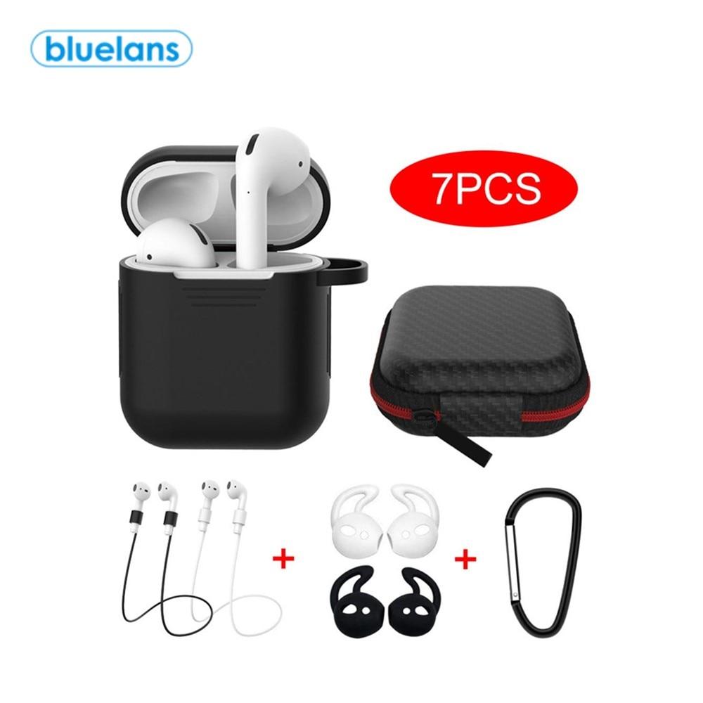 Caja de silicona portátil para AirPods, con estuche de almacenaje para auriculares Bluetooth, 7 Uds.