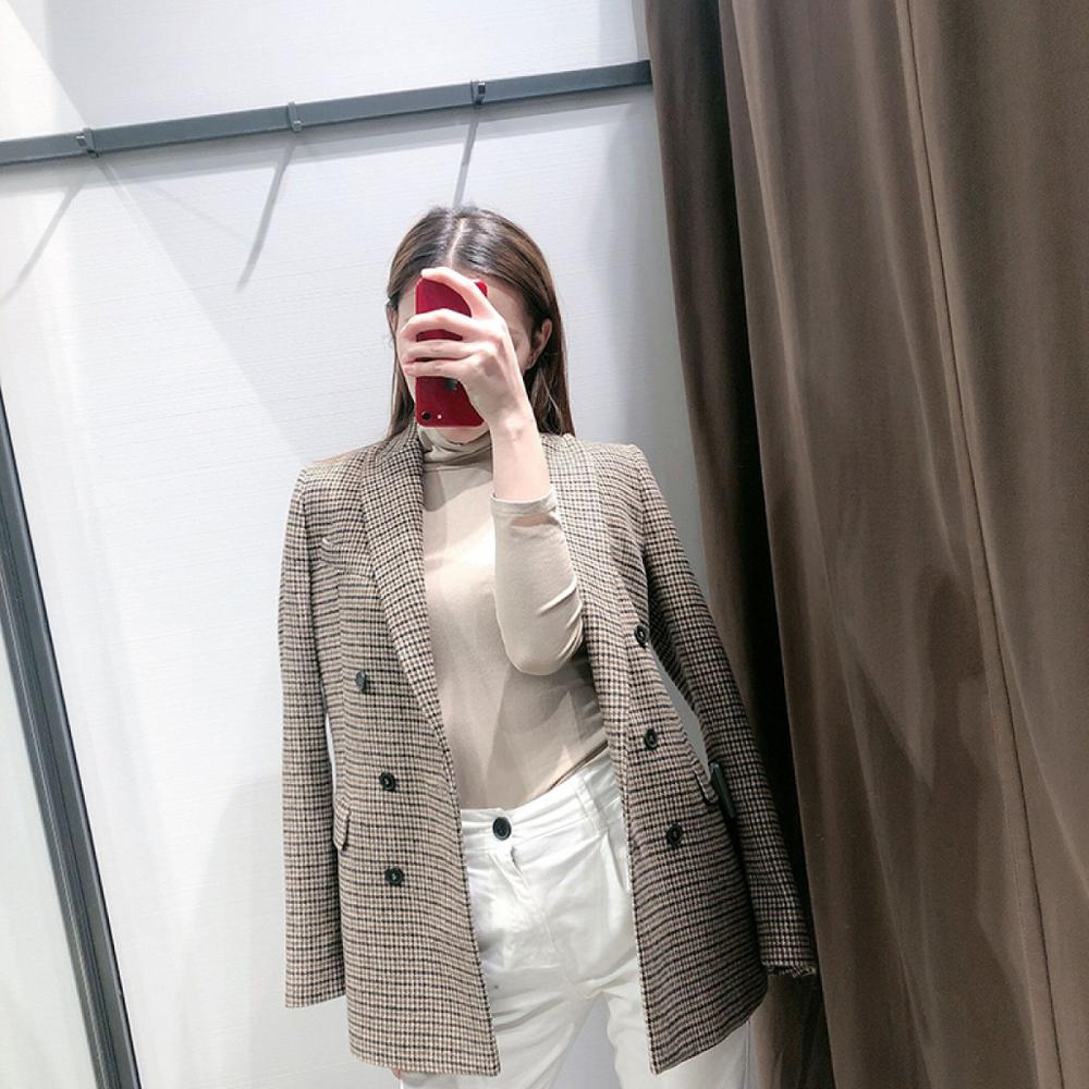 Women Fashion Vintage Casual Plaid Blazer Double Breasted Office Ladies Jacket Coat Notched Collar Long Sleeve Suits women solid blazer double breasted jacket women casual notched collar blazer office ladies work suit new fashion outerwear