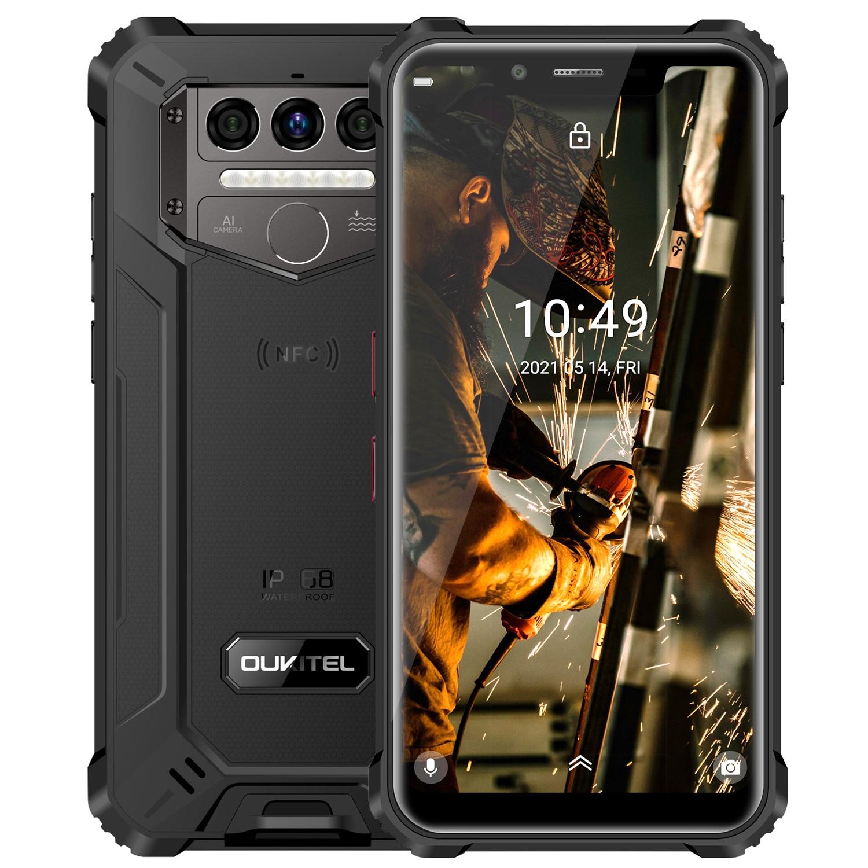 Перейти на Алиэкспресс и купить OUKITEL WP9 8000 мА/ч, IP68 Водонепроницаемый смартфон 6 ГБ + 128 Гб 5,86 ''helio P60 Восьмиядерный мобильный телефон Android10 4G 16MP мобильный телефон NFC