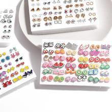 18/36/100pairs Mixed Styles Rhinestone Flower Geometric Animal Crystal Plastic Small Stud Earrings S