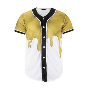 3D Splash Ink Print Baseball Shirt 2019 Brand New Short Sleeve Hip Hop T Shirt Men Streetwear Casual Baseball Jersey Camiseta