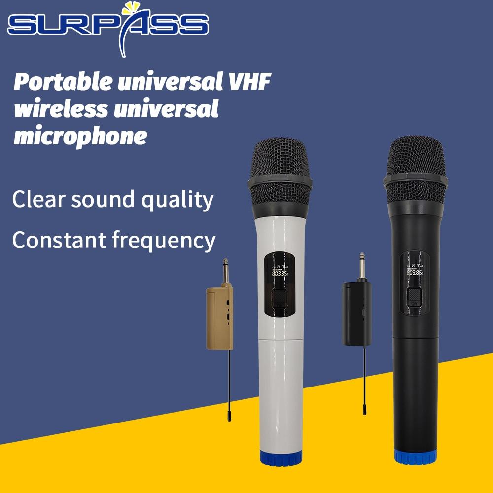 Micrófono inalámbrico VHF Universal, portátil, con receptor, buena calidad, PARA Karaoke, DJ,...