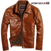 man luxury classic cow leather jackets zipper solid chaqueta de los hombres slim motorcycle jacket leisure men overcoats 19435
