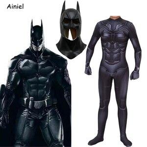 The Dark Knight Bruce Wayne Superhero Halloween  Cosplay Costumes Zentai Bodysuit Jumpsuit  Men Mask