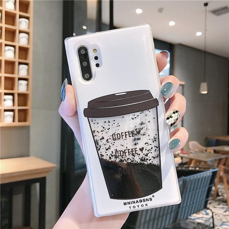 Kaffee Tasse Flüssigkeit Quicksand Silikon Abdeckung Für samsung galaxy Note 10 S8 S9 S10 plus J5 J7 2016 A5 A7 2017 a6 A8 plus 2018 fall