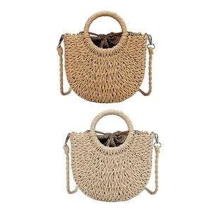 2x Straw Woven Bag Rattan Straw Rope Knitted Women Crossbody Handbag with Ring Fresh Summer Beach Bag Brown & Beige
