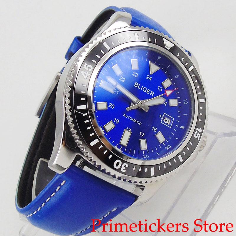 Negro giratorio bisel azul dial BLIGER 44mm automático hombre reloj fecha correa de cuero azul