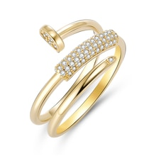 Gold Silver Color Nail Rings for Women Luxury Bling Bling Zircon Stone Screw Ring Wedding Engagement