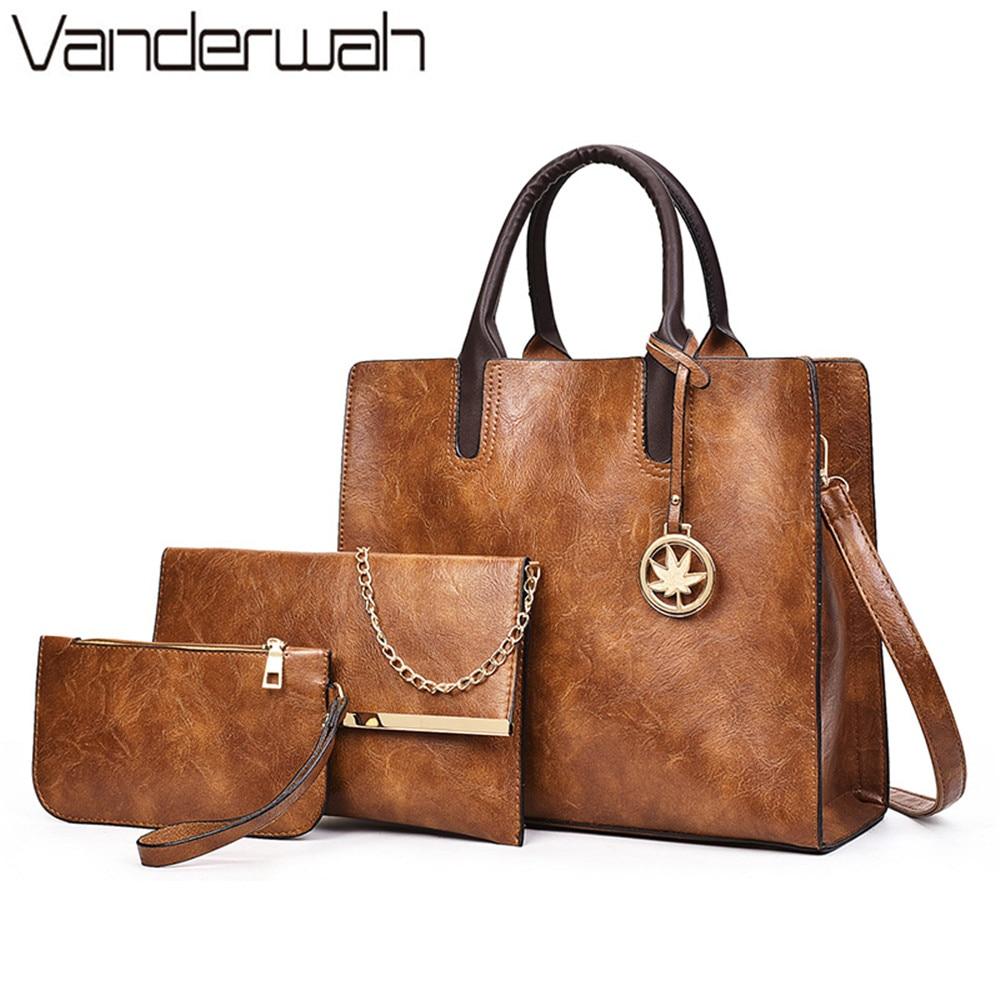 2018 Hot Women's Handbag High Quality Pu Leather Women Bags Handbags Women Famous Brands Tote Bag Ladies Shoulder Bags 3 Set sac