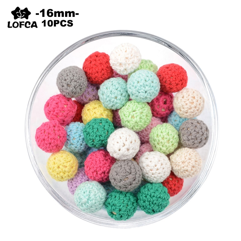 LOFCA 16mm Wooden Crochet Beads 10PCS DIY Necklace Pacifier Chain Baby Colorful Teething Knitting Beads Baby Teethers