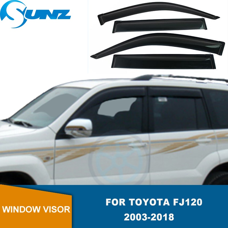 SUNZ-عاكسات نافذة جانبية لتويوتا لاند كروزر برادو ، 120 Fj120 2003-2020 ، واقي من المطر والشمس